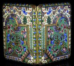 antique Russian silver-gilt and shaded cloisonne enamel cigarette case by Constantine Skvortsov, Moscow, circa 1908.    The case is marked with 84 zolotniks Russian Imperial silver standard (.875 silver) - Moscow assay office, and master's initials 'KC'.    fully enameled case with highly stylized floral and geometrical designs.