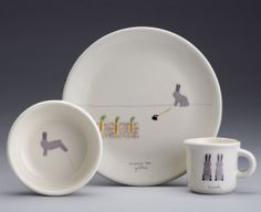 For friends with little ones... and lovers of bunnies like me... bunny dinnerware by bethmueller on Etsy, $72.00 #garden #friend