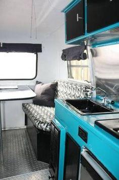 Electric blue, black and zing boler interior. (for a camper! Scamp Trailer, Camper Trailers, Trailer Interior, Camper Interior, Trillium Trailer, Old Campers, Happy Campers, Retro Caravan, Camper Makeover