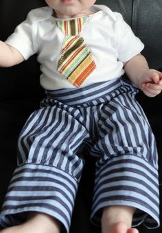 Super-cute upcycled baby pants made from an old dress shirt - $16