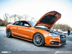 AWE Tuning recently set the fastest quarter mile time recorded to date for a 93 octane-fueled B8 or B8.5 chassis 3.0T with a 11.883 second 116.49mph ¼ mile run at Cecil County Dragway in Rising Sun, Maryland, in their Somoa Orange Audi S5 on Forgeline VX3C Concave wheels. See more at: http://www.forgeline.com/customer_gallery_view.php?cvk=883  #Forgeline #VX3C #notjustanotherprettywheel #madeinUSA #Audi #S5