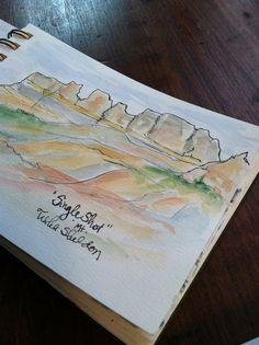 "Tisha Sheldon's watercolor travel journal. ""Single Shot"" in Glacier National Park, Montana"