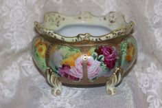 Moriage Nippon Hand Painted Large Footed Bowl Yellow Pink Roses & Gold Vintage #Nippon