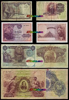 Portugal banknotes, Portugal paper money catalog and Portuguese currency history Money Template, Money Notes, Rare Coins, People Of The World, Vintage World Maps, Nostalgia, Catalog, 1, Symbols