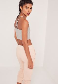 Cross Back Strap Ribbed Crop Top Grey | MISSGUIDED saved by #ShoppingIS