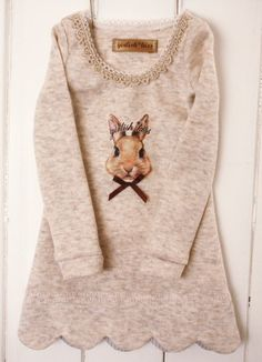 bunny - perfect for Easter!  claradeparis.com loves the bottom details + bunny print -
