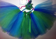 Tutu and matching headband made to go with peacock wings for a halloween costume!