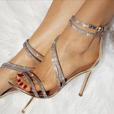 ae0024db0f Champagne Evening Shoes Rhinestone Sandals Open Toe Stiletto Heels image 1  Pieds Nus, Sandales À