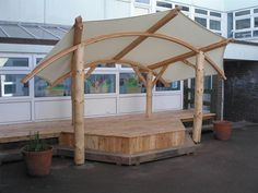 Canvas shelter Natural Outdoor Playground, Outdoor Stage, Outdoor Pavilion, Outdoor School, Roof Design, E Design, Design Tech, Kids Stage, Outdoor Nursery