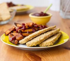 Crispy breaded tofu strips. A healthy alternative to crispy chicken fingers.