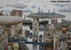 Vadim Voitekhovitch aka Voitv is a talented artist from Germany focused on Sci-Fi art. Their artwork is from Traditional art. His style is Steampunk…. Steampunk Ship, Steampunk City, Steampunk Kunst, Steampunk Fashion, Concept Ships, Concept Art, Dirigible Steampunk, The Frankenstein, Beyond The Horizon