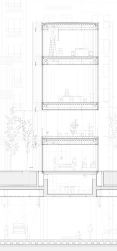 Design Hub Madrid by Javier Velo - issuu Architecture Panel, Architecture Graphics, Architecture Student, Architecture Drawings, Architecture Portfolio, Architecture Details, Velo Design, Planer Layout, Elevation Drawing