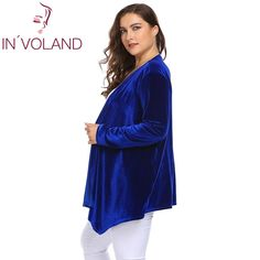 Big Size Women Sweater Cardigan Long Sleeve Open Front Velvet Draped Casual Lady Plus Size Tops Plus Size Cardigans, Plus Size Tops, Velvet Drapes, Mobiles, Computers, Sweater Cardigan, Bluetooth, Sweaters For Women, Headphones