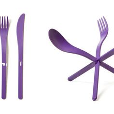 Standing Silverware I am thinking you could do this with plastic ware your self Gadgets And Gizmos, Cool Gadgets, Plastic Ware, Chandeliers, Purple Party, Color Harmony, All Things Purple, Home Decor Items, Household Items