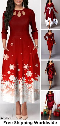 Dresses For Women Holiday Party Dresses, Christmas Dresses, Xmas Dresses, Cute Fashion, Womens Fashion, Fashion Top, Red Bridesmaid Dresses, Holiday Fashion, Winter Fashion