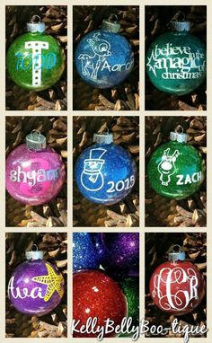 Round Glitter Glass Ornaments
