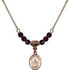 18-Inch Hamilton Gold Plated Necklace with 4mm Purple February Birth Month Stone Beads and Saint Medard of Noyon Charm. 18-Inch Hamilton Gold Plated Necklace with 4mm Amethyst Birthstone Beads and Saint Medard of Noyon Charm. Purple represents Amethyst, the Birthstone for February. Hand-Made in Rhode Island. Lifetime guarantee against tarnish and damage. Hamilton gold is a special alloy designed to have a rich and deep gold color.