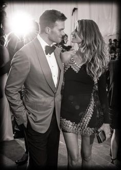 Gisele Bundchen and Tom Brady at the Met ball in NY // One of my favorite *famous* couples. Love the all-american, rugged guy with his south american beauty! *sigh* Perfection.