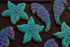 seahorse starfish sugar cookies