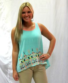 Mint is hot for this season! Add some neon and pastel to your spring/summer collection with this great tank!!