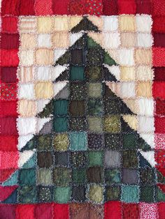 "Christmas Tree Rag Quilt: I like the red borders, brown trunk, and how the branches go ""into"" the border.  Dislike: top of tree.  See other design for better top."