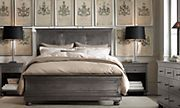 bedding - concept... add some contrast to the room.  Restoration Hardware