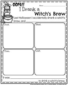 Halloween Writing Prompts for First Grade- Narrative: Oops!! I Drank a Witch\'s Brew.