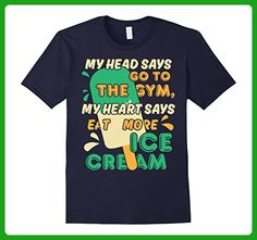 Mens Funny Ice Cream T-Shirt Go To The Gym Eat More Ice Cream Medium Navy - Workout shirts (*Amazon Partner-Link)