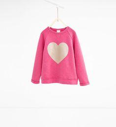 Image 1 of Heart sweatshirt from Zara Maya Fashion, Kids Fashion, Kids Girls, Cute Girls, Zara New, Girl Inspiration, Kind Mode, Pretty Outfits, Look