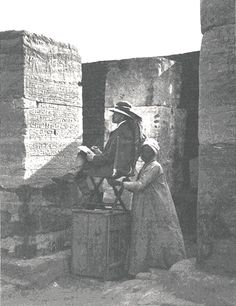 """James Henry Breasted was the first egyptologist to copy the inscription on the Shabaka Stone by hand, remarking that : """"I have no doubt that with a better light than it is possible to get in the museum gallery, more could in places be gotten out."""""""