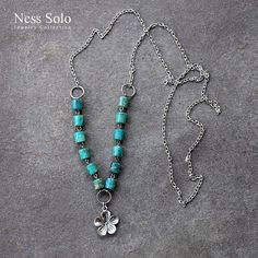 Southwestern, cowgirl, boho chain necklace with turquoise blue variscite beads and a flower pendant / charm by NessSolo on Etsy