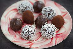 Bliss balls - add 2 tbs of peanut butter, 2 extra tbs of cocoa and some chopped up dark choc at the end.