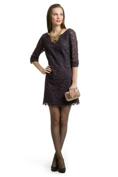 Shoshanna Hayley Lace Ruched Shift - gray lace detail. great for almost everyone. this is a maybe option for me