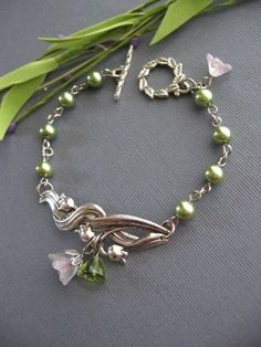 Silver Lily of the Valley Bracelet with Olivine  by CharmedValley, $21.00
