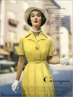 Evelyn Tripp in yellow nylon shantung dress by Georgiana, Vogue, December 1951