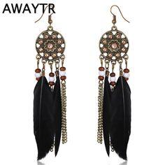 AWAYTR Bohemia Vintage Women Dreamcatcher Long Feather Earrings Tassel Bead Dangle Earrings Women Beaded Chain Pendant Earrings