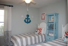 "Cottage Kids Bedroom with (Custom Color Painted) 72"" Standard Bookcase by Yosemite Home Decor, Ceiling fan, flush light"