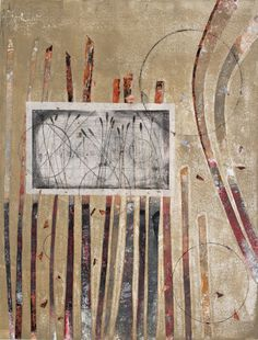 """Chronicle of Renewal, by Anne Moore, monotype with drypoint collage, 20""""X16"""""""