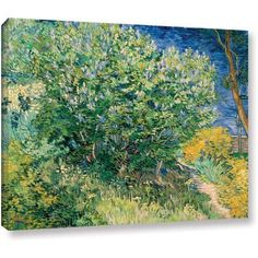 Vincent Van Gogh Lilacs Wrapped Canvas Art, Size: 24 x 32, Blue