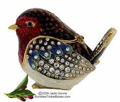 trinket box - birdie, hinged lid, crystals