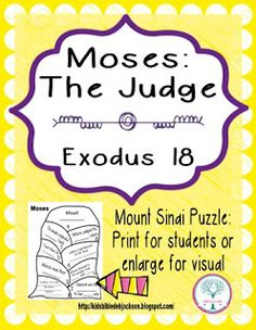 Moses the Judge Puzzle & Lesson Outline. Can be printed for students and/or enlarged for a teacher's visual.
