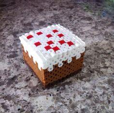 3D Minecraft cake perler  beads by KrausHausKrafts