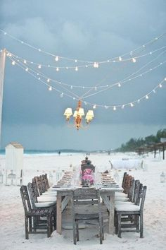Ocean/ beach dining with roses & lights