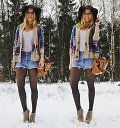 who wears heals in the snow. or shorts. false.