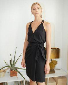 VENUS - Wrap front mini dress - Black