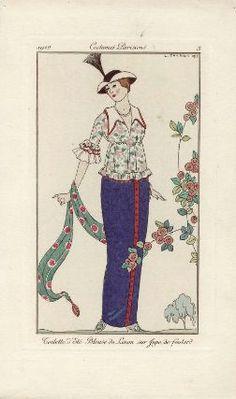 """""""Toilette d'Été. Blouse de Linon sur Jupe de foulard"""", Journal des Dames et des Modes, 1912; MFA 63.2523"""