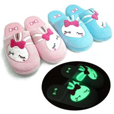 Luminous cartoon flower rabbit slippers home lovers indoor floor winter thermal slippers US $19.89