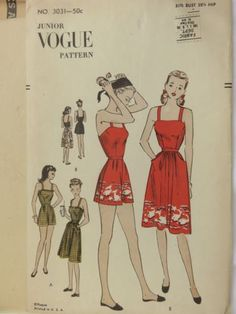5e25de8a886 Items similar to Vintage Vogue 3031 Junior Miss Pinup Playsuit and Skirt  Sewing Pattern Size 13 Bust on Etsy