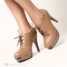 Adorable Camel PU Round Toe Lace-up Stiletto Short Boots : Tidebuy.com