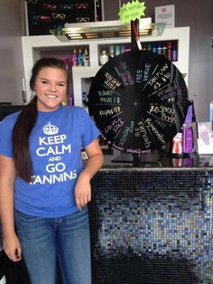 Sydney with our Wheel of Fun at the Rucker Lane location!